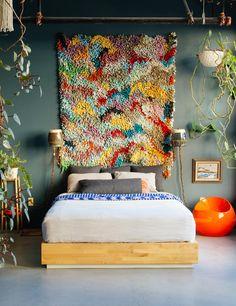 'The New Bohemians' Book; By Justina Blakeney - Emily Henderson Bedroom Decor, Decor, Eclectic Bedroom, Interior Design, Bedroom Paint, Bed, Interior, Home Decor, Boho Bedroom Decor