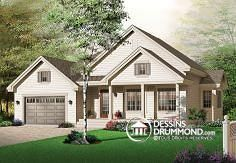 Discover the plan 3239 - Concord from the Drummond House Plans house collection. 2 bedroom bungalow with covered porches front & back and garage. Total living area of 1337 sqft. Country Style House Plans, Country Style Homes, Farmhouse Style, Garage Plans, Shed Plans, Bungalow, Drummond House Plans, House Floor Plans, Beautiful Homes
