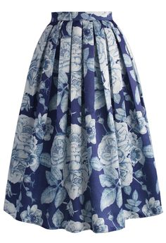 Endearing Rose Print Midi Skirt - Retro, Indie and Unique Fashion