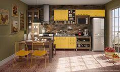 Cozinha Modulada com 6 Módulos com Mesa, Cadeiras e Banco Avelã/Maracujá/Amarelo Ouro/Rustic - Caaza | Lojas KD