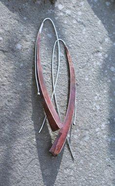 Fold formed long drop copper arc earrings (outside detail)