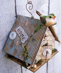 Wonderful mixed media birdhouse by Nest In The Attic