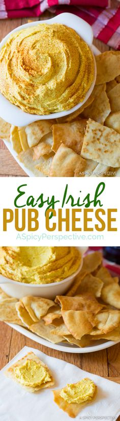Irish Pub Cheese Recipe – Silky smooth and loaded with Irish cheddar and beer flavor. This Pub Cheese Recipe make a fabulous snack for Saint Patrick's Day. Pub Cheese Recipe, Cheese Recipes, Appetizer Recipes, Snack Recipes, Cooking Recipes, Irish Appetizers, Dip Recipes, Retro Recipes, Pan Relleno