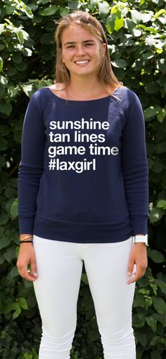 Celebrate the #lacrosselife with this cozy wide-neck sweatshirt!