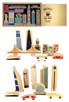 Handcrafted wooden city playsets that are as beautiful on a shelf as they are fun in a kid's hands