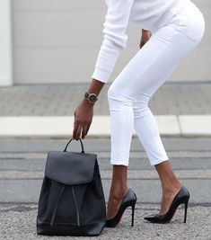 all white outfit w/ black accessories | skirttheceiling.com