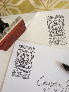 Customised address and ex-libris stamps. Beautiful!