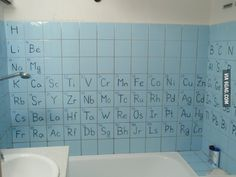 "You know you're in a nerd's house when you see this ""Periodic Bathroom"""