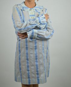 70's Blue and White Stripped Shirt Dress with Pleated Collar and Cuffs by BuffaloGalVintage on Etsy