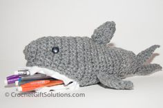 Shark Pencil Case with Zipper Closure at by CrochetGiftSolutions