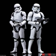 First Order Stormtrooper next to the original Stormtrooper.