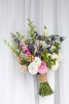 Beautiful, soft wildflower bouquet. Purples, greens, white and pink. The Aspen Branch Original. Robin Proctor Photography