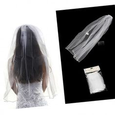 Our DIY veil perfect for all Hens Parties and Bridal showers attaches to the head by plastic comb and white netting hangs approx. 72cm long.  http://www.hensnightshop.com.au/diy-bride-veil.html