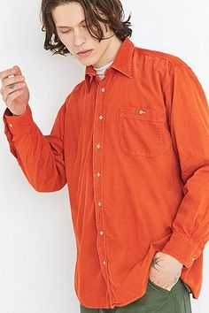 Urban Renewal Vintage Customised Pop Orange Corduroy Shirt - Urban Outfitters