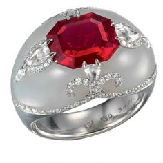 Ruby and white jade ring by Bogh-Art