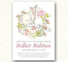 Baby Shower Invitation Bunny Baby Shower by SprinklesAndLaceCo