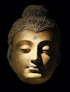 Gilt Stucco Head of Buddha Gandhara, Hadda, - c. Buddha Sculpture, Buddha Zen, Buddhist Art, Gods And Goddesses, Asian Art, Nepal, Oriental, Hanuman Images, Canvas Art