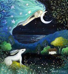 Image result for woman holding moon painting