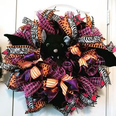"""Halloween WreathIf you have any questions please hit the """"Message Seller"""" button next to the price and I will get right back to you. Halloween Witch Hat, Halloween Magic, Halloween Candy, Halloween Wreaths, Halloween Stuff, Easter Wreaths, Fall Wreaths, Christmas Wreaths, Diy Ribbon"""