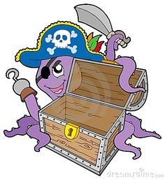 Pirate octopus with chest
