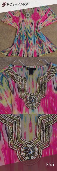 """New! INC Beaded Tunic top! Size M This is brand new without tags.  INC beaded tunic top. This is see through - you do need to wear something under neath    Size medium.  Measures length 30"""" bust is 18"""". Stretchy.   Smoke free home INC International Concepts Tops Tunics"""