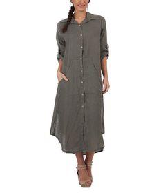 Look what I found on #zulily! Khaki Linen Button-Up Maxi Dress #zulilyfinds