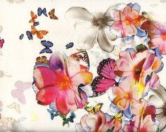 Viskose-Jersey mit Digitaldruck AMORE DEL SOL, Blüten und Schmetterlinge, fuchisa