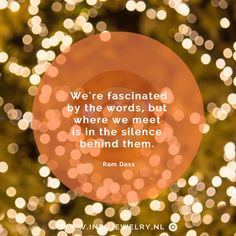 we're facinated by the words, but where we meet is in the silence behind them - ram dass