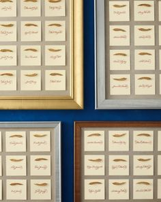 These escort cards are adorned with jaunty gold feather charms