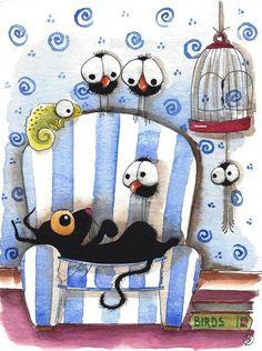 Original watercolor painting art whimsical Stressie cat crow bird sofa chameleon #IllustrationArt
