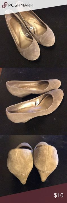 Taupe Suede Wedges Taupe colored suede wedges. Gently worn, excellent used condition Merona Shoes Wedges
