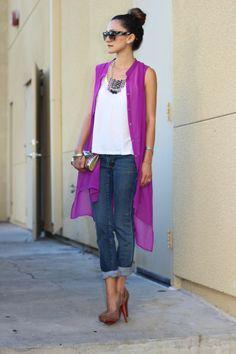 Dress: Shop Frankie's, Tank: Club Monaco, Jeans: Edun, Shoes: Louboutin, Sunglasses: Celine, Minaudiere: Rodo