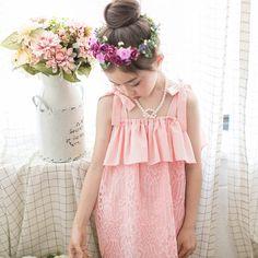 Kathy Lace Dress - Pink, White