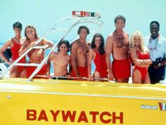 The Baywatch cast was known for wearing barely-there swimwear, and looking amazing in it while sprinting down the beach (sometimes in slow motion). David Charvet, Brooke Burns, Nicole Eggert, Erika Eleniak, Jason Momoa, Baywatch Tv Show, Series Movies, Tv Series, Hotmail Sign In