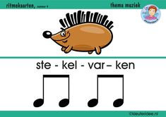 Ritmekaart voor kleuters 4 stekelvarken, thema muziek, kleuteridee.nl, free download