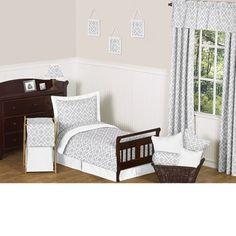 Diamond Gray & White 5-Piece #Toddler #Bedding Set by JoJo Designs TinyTotties.com