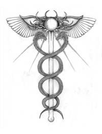 The Caduceus, Staff of Hermes; the ultimate healing is a fusion of the aspects of the self, beneath the divine True Will.