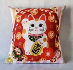 Maneki Neko Lucky cat Cushion cover  Japanese fabric by Morondanga