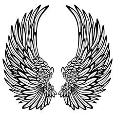 Wings drawing: angel wings with feathers wall stickers / wall decals. Angel Wings Drawing, Angel Wings Wall, Cross Drawing, Wall Drawing, Angel Coloring Pages, Coloring Pages For Kids, Tattoo No Peito, Bauch Tattoos, Wing Wall