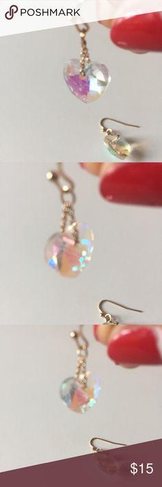 iridescent dangly heart earrings oooooobsesssed 💕✨👌🏻💋⭐️💕 Jewelry Earrings
