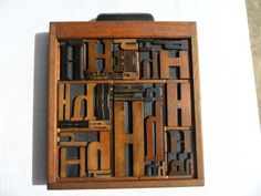 Antique Letterpress Printing Wood Type All H Graphic Design 31 H's In Wood Tray