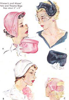 1950s Hat and Purse Pattern McCalls 1690 Poke Bonnet Hat Fascinator Cloche Clutch Handbag Habadashery Vintage Sewing Pattern