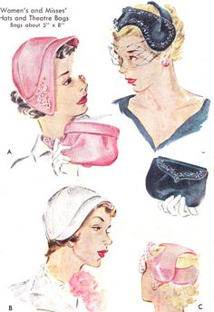 1950s Hat and Purse Pattern McCalls 1690 Poke Bonnet Hat Fascinator Cloche Clutch Handbag Habadashery Vintage Sewing Pattern