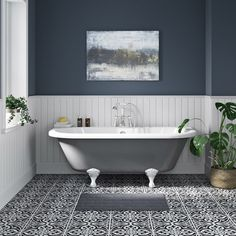The Bath Co. Dulwich iron grey back to wall roll top bath with white ball and claw feet 1700 x 750 Bathroom Design Small, Bathroom Interior Design, Upstairs Bathrooms, Master Bathroom, Clawfoot Tub Bathroom, Cottage Bathrooms, Bathroom Mirrors, Bath Shower Mixer Taps, Roll Top Bath