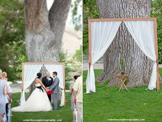 ceremony backdrops with curtains and wood molding (photo by cedar house photography)