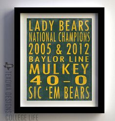 Baylor University Lady Bears Basketball Subway Sign