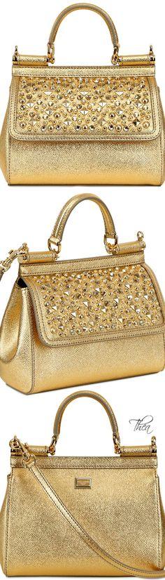 Dolce & Gabbana ~'Miss Sicily' Sequin Gold Hangbag
