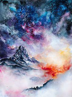 Matterhorn by MsAlina on DeviantArt Red Lipsticks, Sick, Deviantart, Watercolor, Mountains, Artwork, Painting, Outdoor, A3