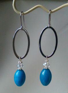 Handmade Blue Jade and Crystal Earrings -  Blue and Silver Link Earrings - Gemstone and Silver Earrings - Classic Silver Earrings by KarenElizabethJ on Etsy