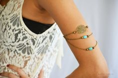 Armlet Slave Bracelet Arm Bracelet Piece Hipster Bronze Chain Belle Turquoise & Filigree  Body Jewelry